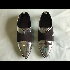 Shiny silver pointed toe loafers size 8